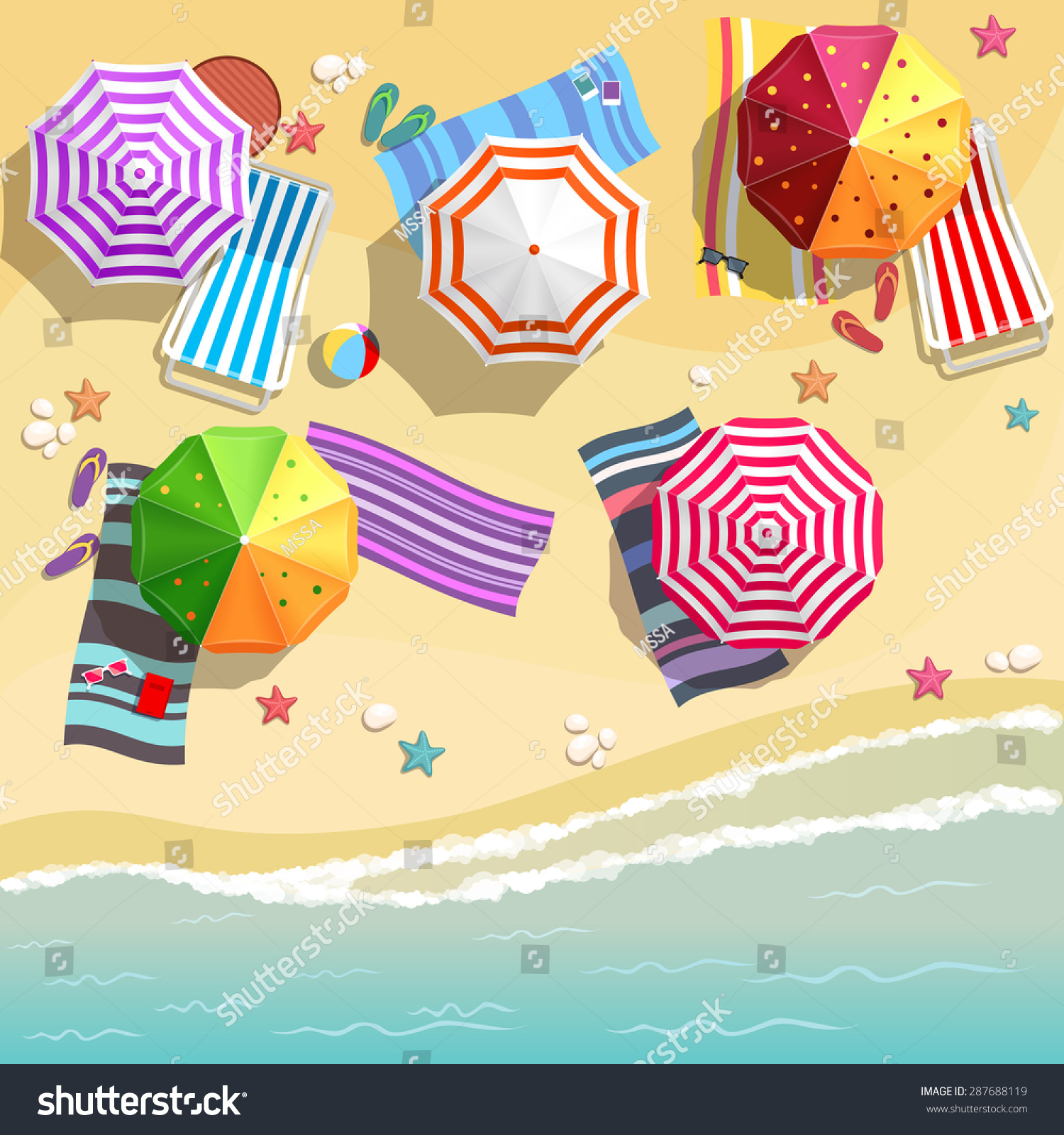 Aerial view summer beach flat design stock vector for Beach design