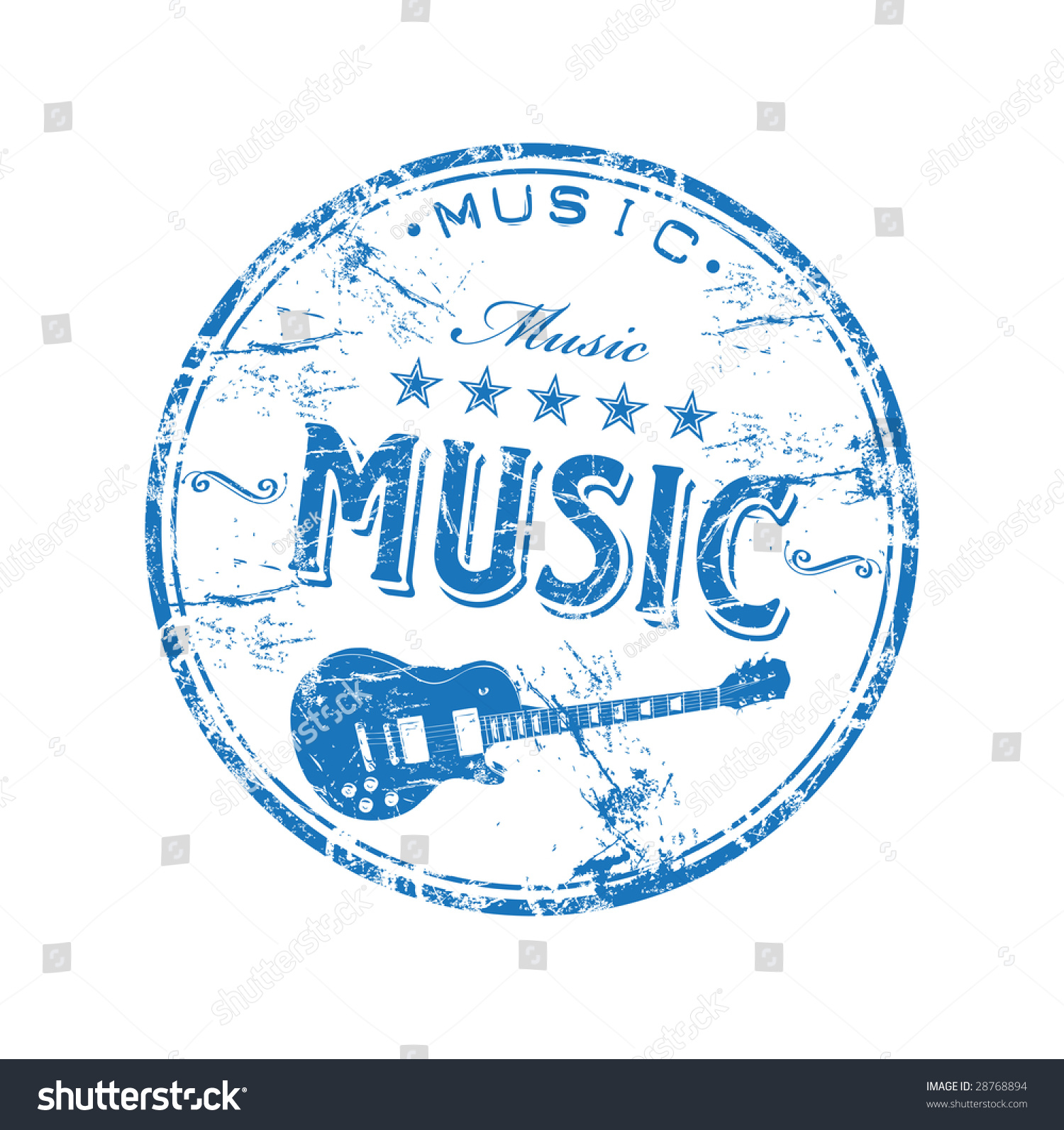 Blue Grunge Rubber Stamp Guitar Shape Stock Vector Royalty Free