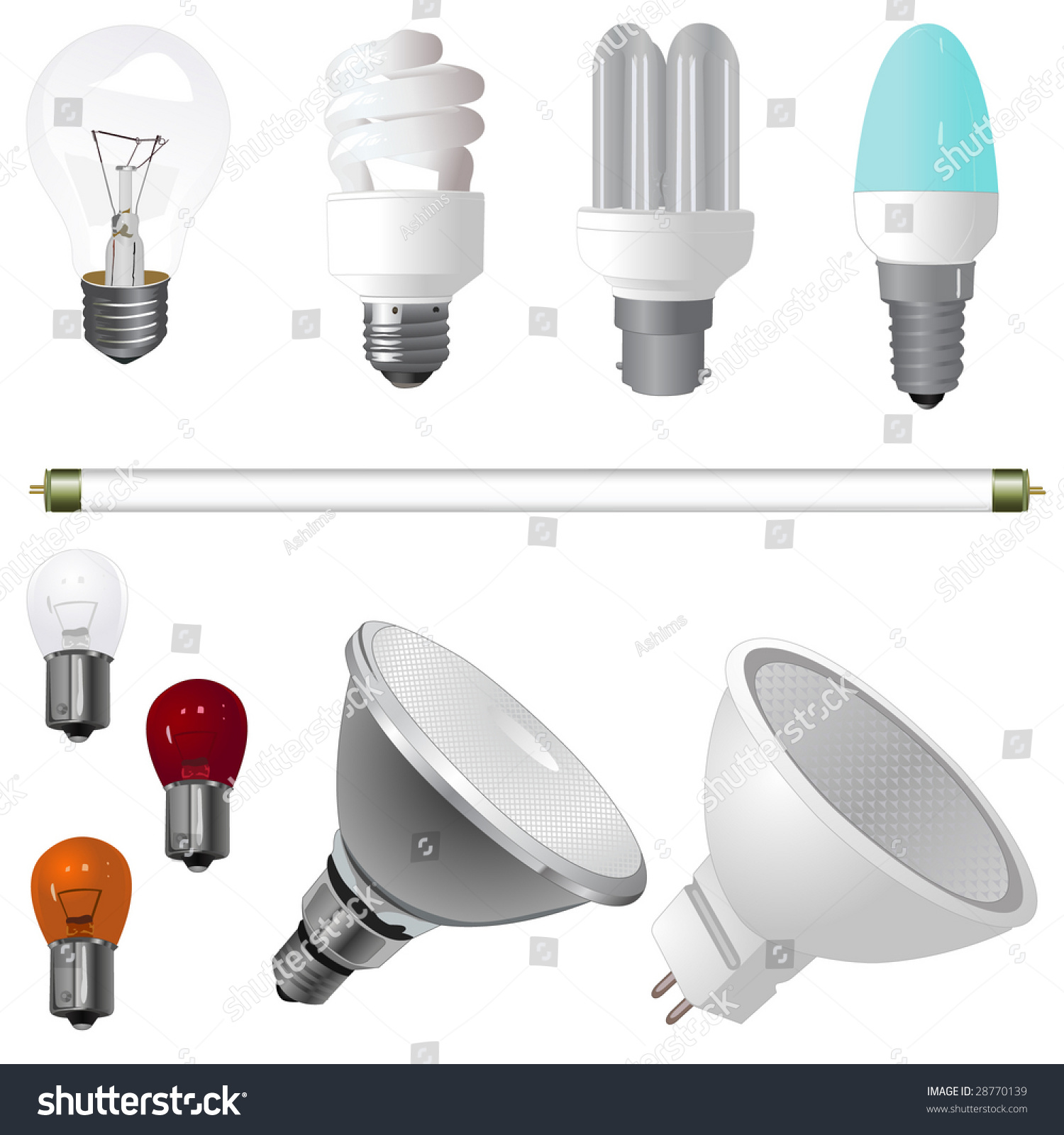 A Collection Of Various Type Of Light Bulbs Stock Vector