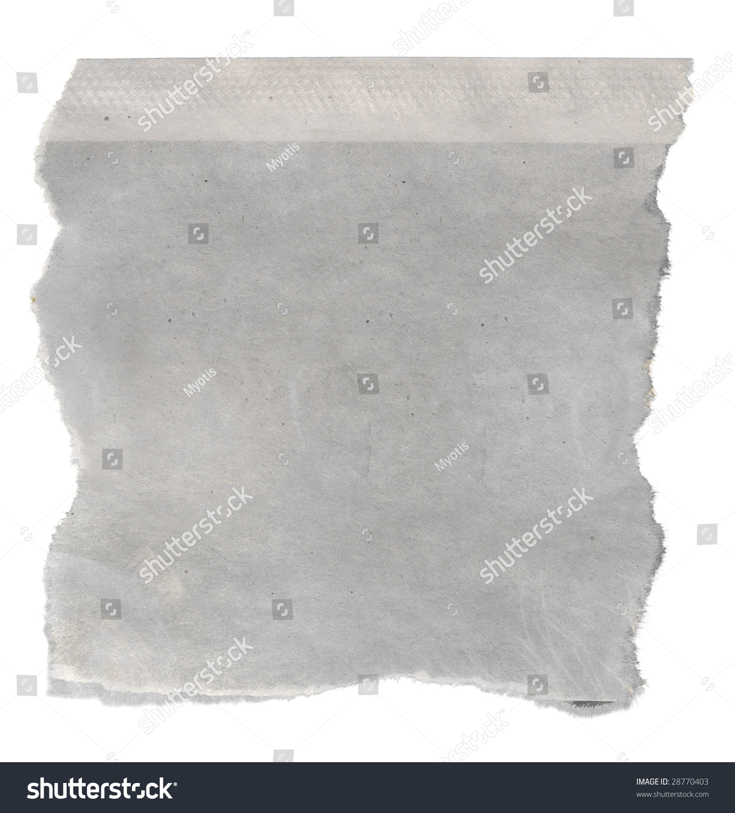 macro blank torn newspaper clipping isolated stock photo (edit now