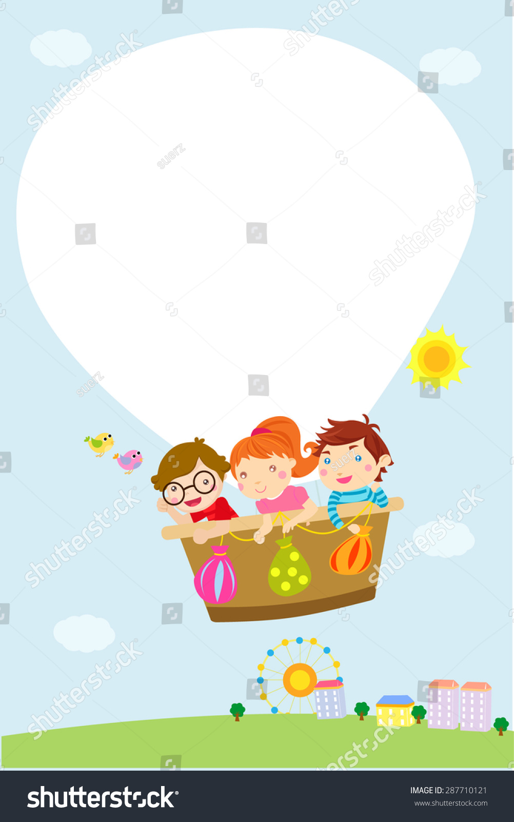 Kids Hot Balloon Frame Stock Vector Royalty Free 287710121