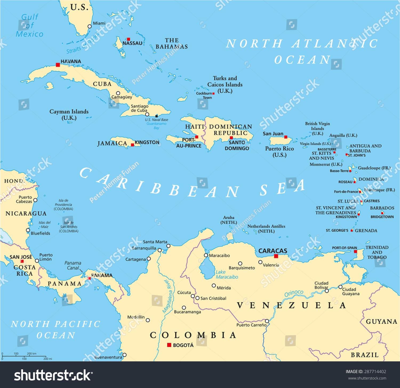 Caribbean Political Map Capitals National Borders Stock Vector - Nicaragua political map cities