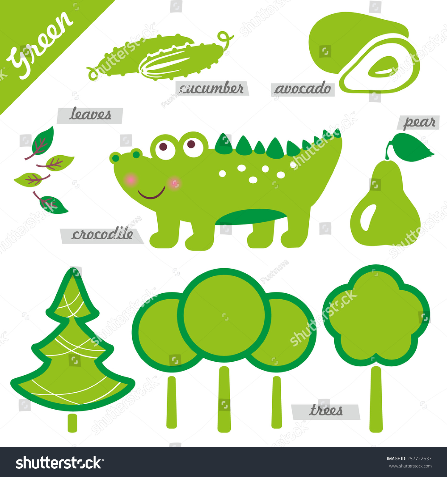 Set Images Examples Green Color Kids Stock Vector (Royalty Free ...