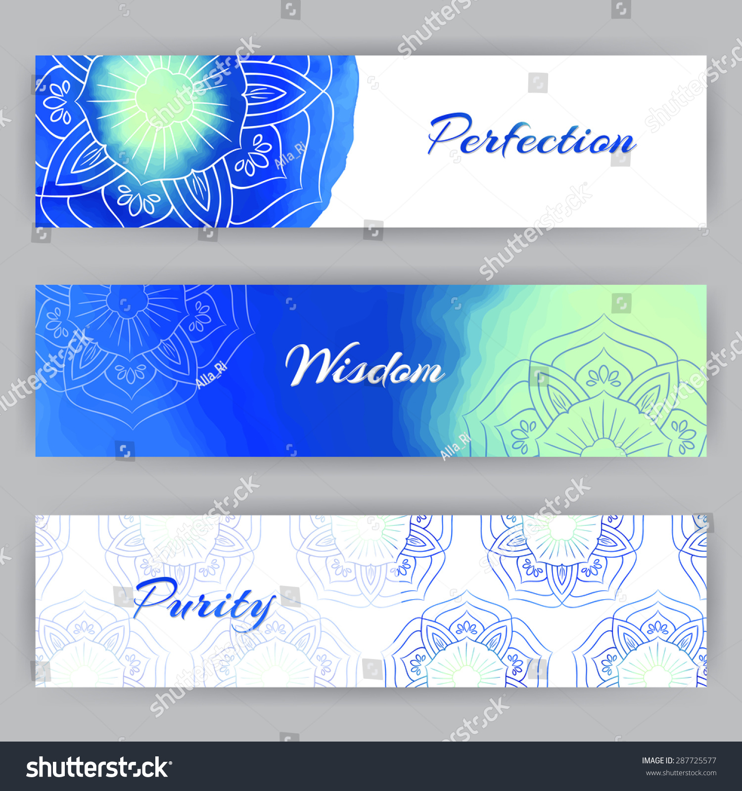 Yoga pattern background seamless pattern with five petals lotus flower - Web Banner With Blue Lotus Flowers Beauty Spa Or Yoga Theme Watercolor Elements