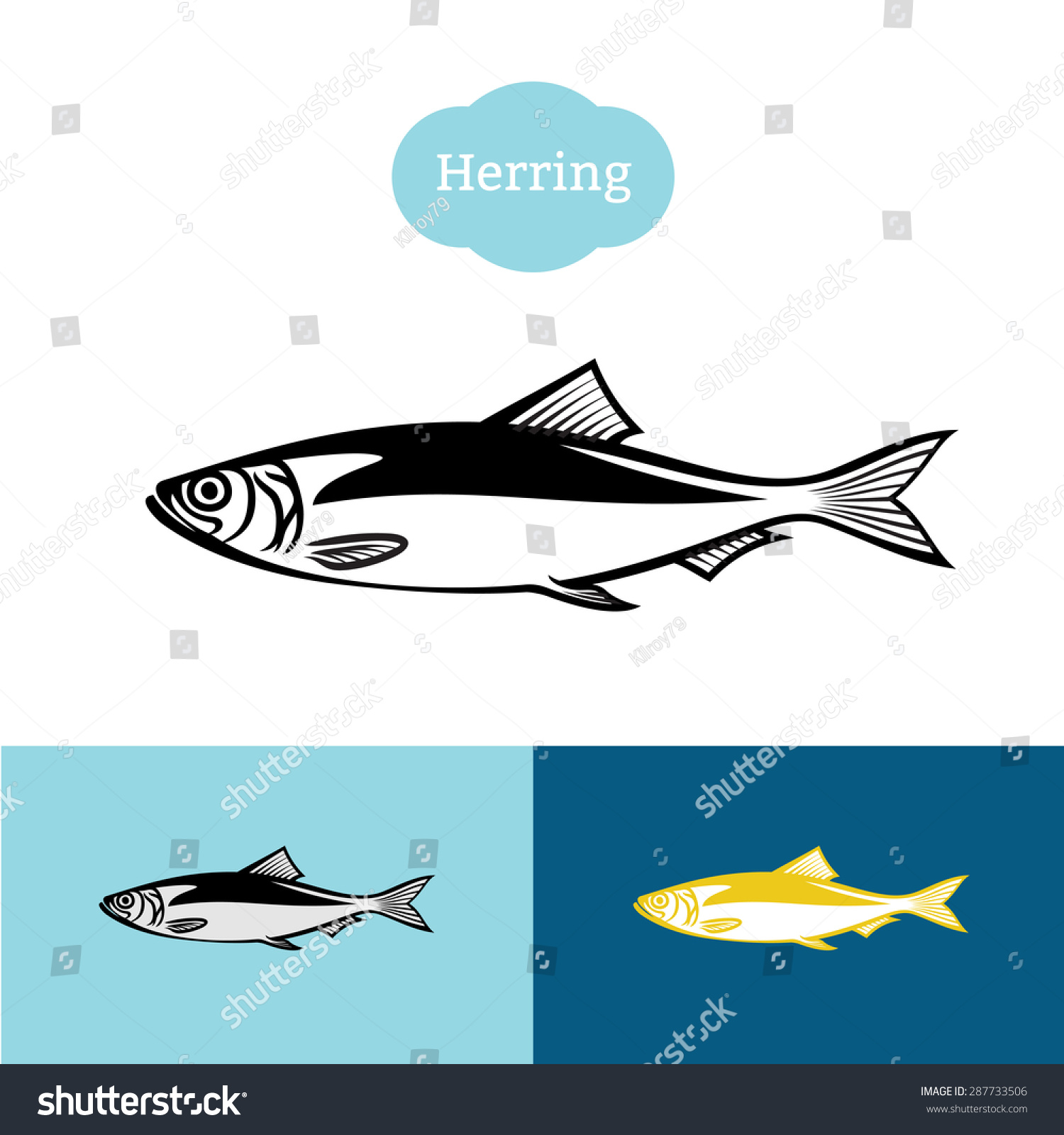 herring black one color silhouette fish symbol logo for food industry