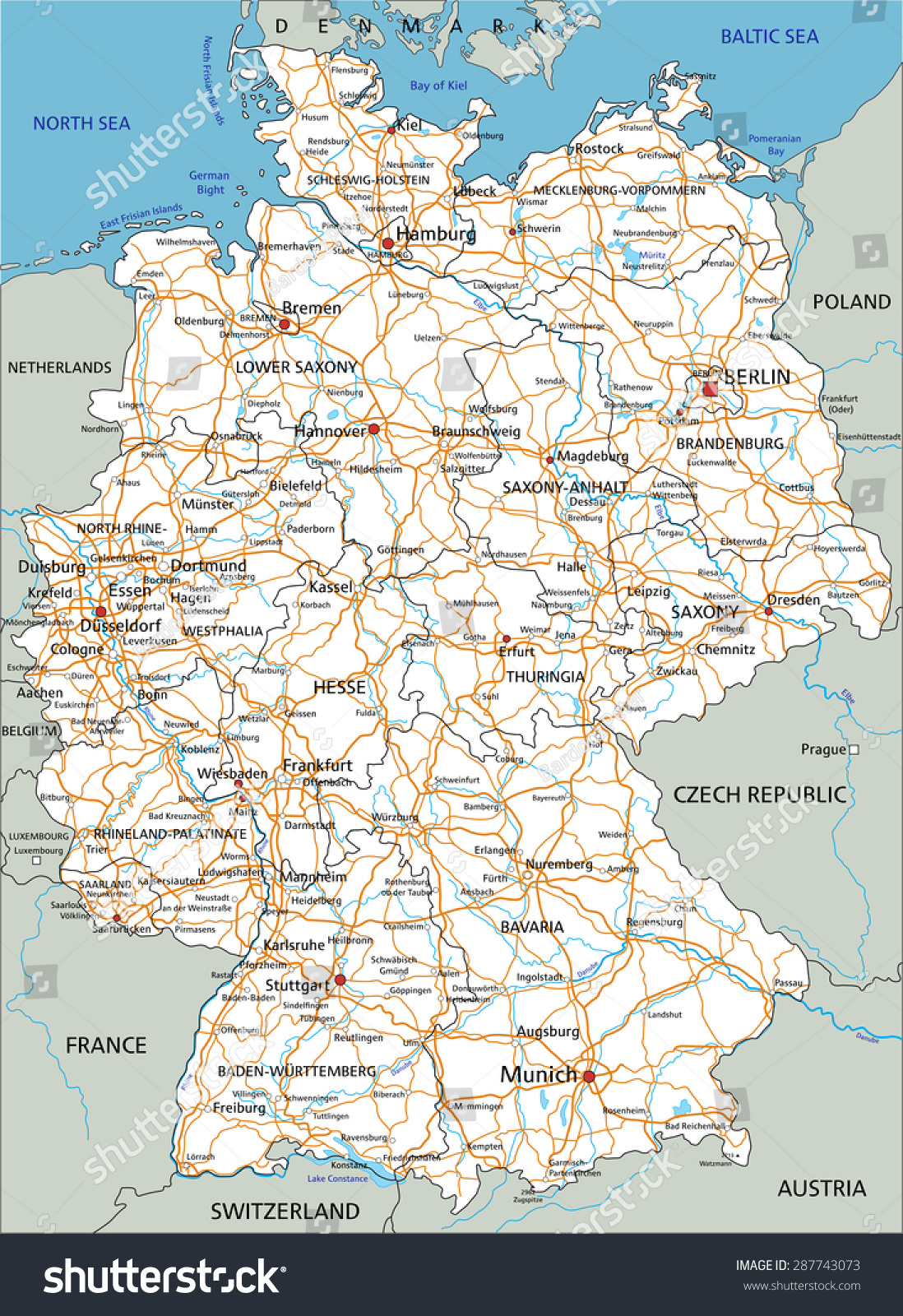 high detailed germany road map with labeling white
