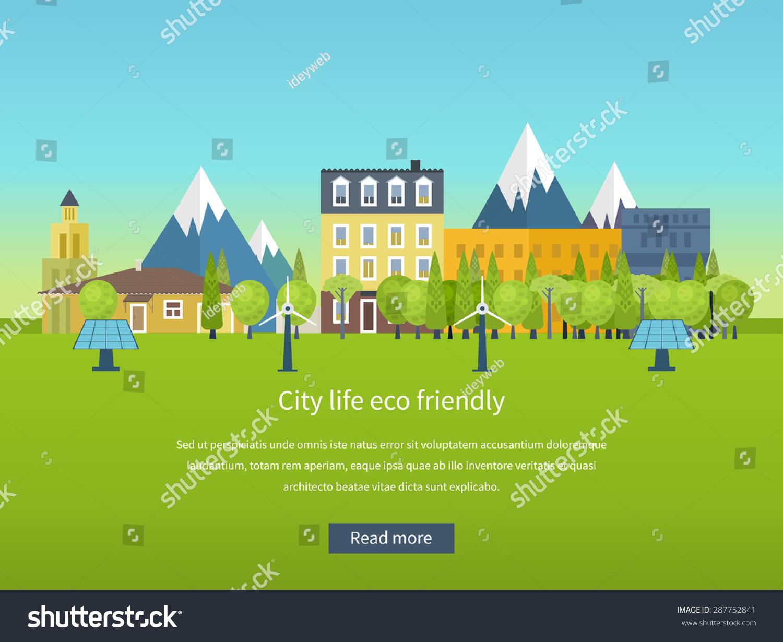 Скачать Eco Technology Flat Icons: Urban Landscape. Flat Design Vector Concept Illustration