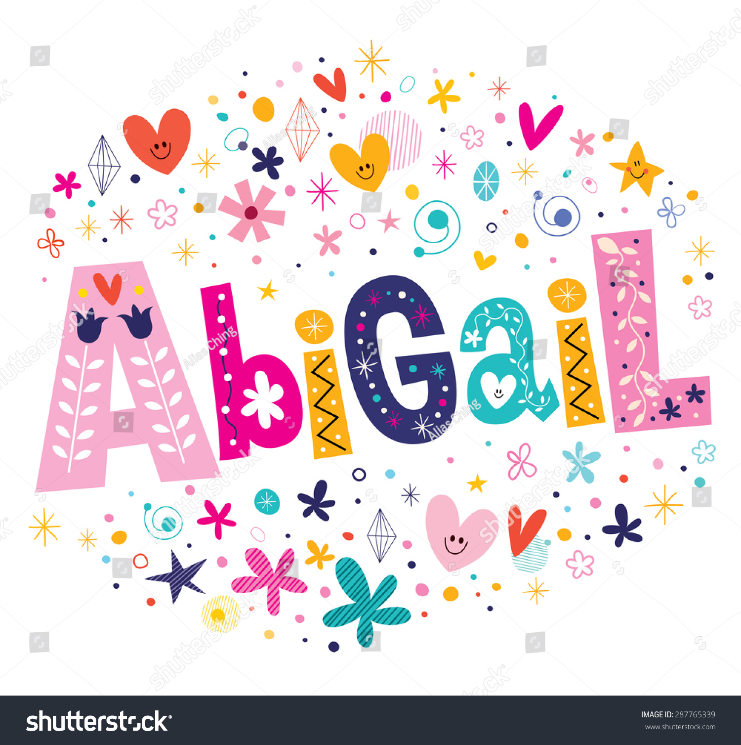 Abigail Girls Name Decorative Lettering Type Stock Vector
