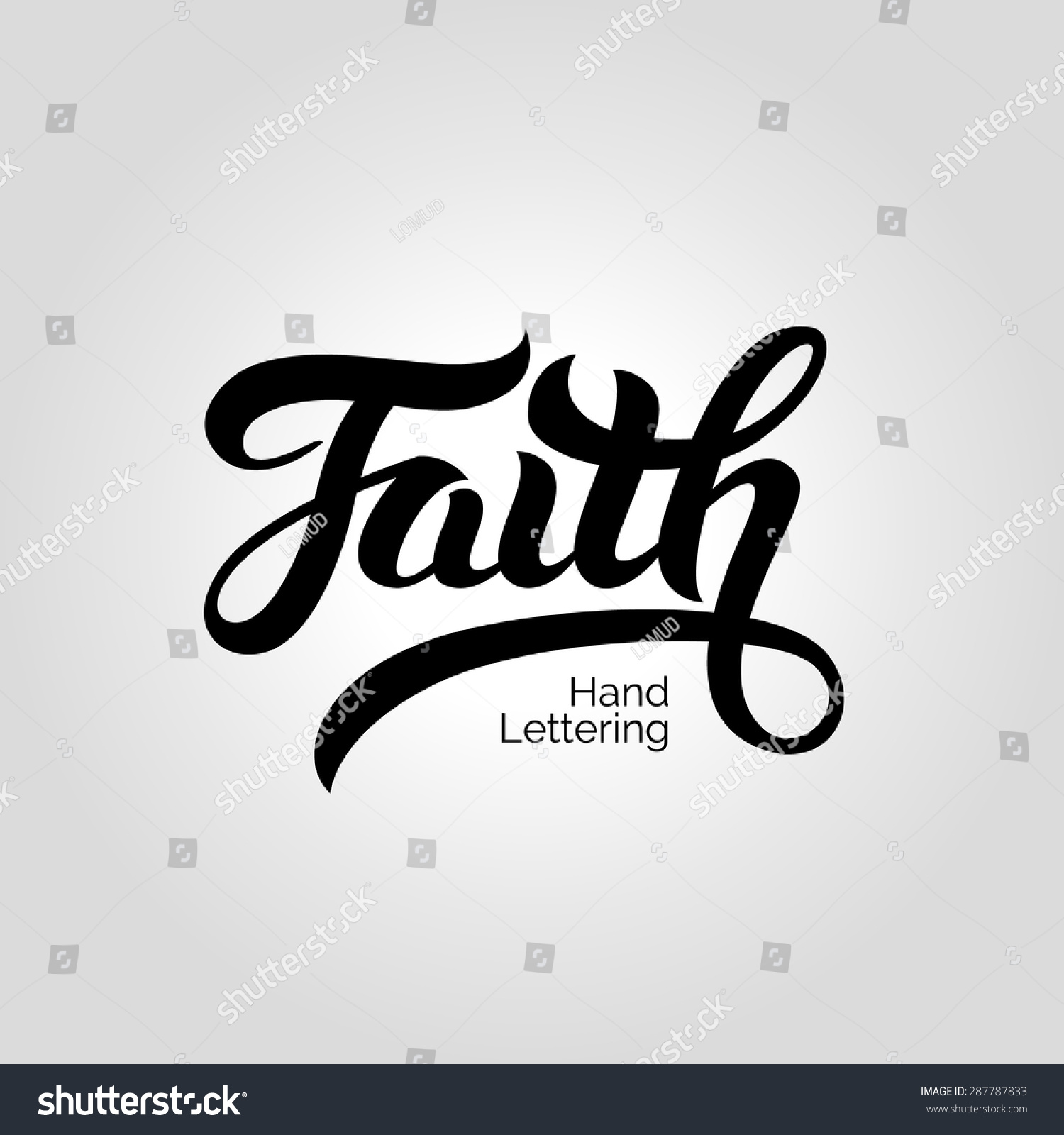 Faith word hand lettering handmade vector stock