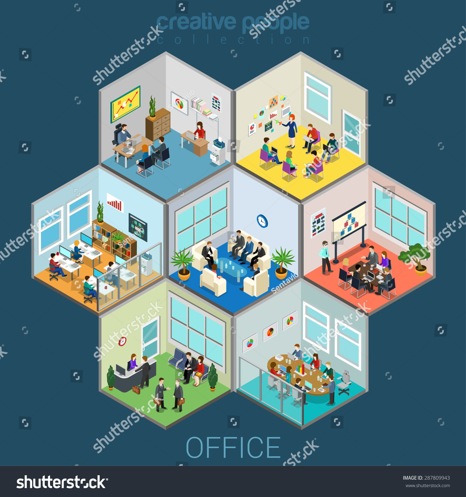 Flat 3d isometric abstract office interior stock vector for 3d flat design online