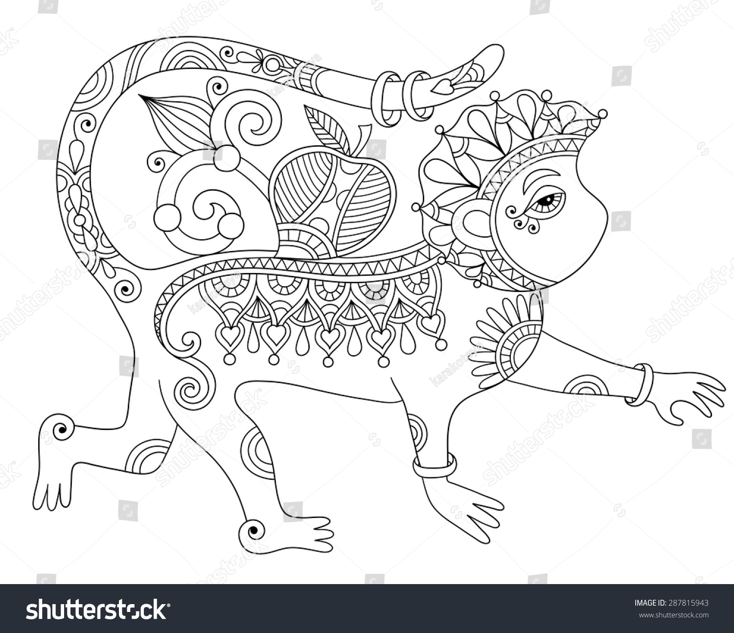 Line Art Drawing Ethnic Monkey Decorative Stock Vector 287815943 ... for Line Drawing Monkey  143gtk