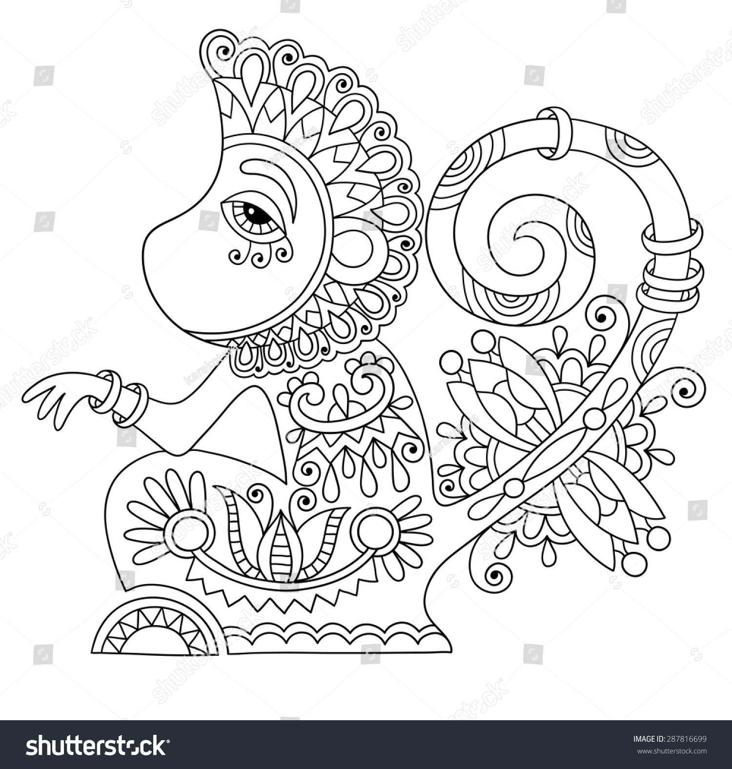Line Art Monkey : Line art drawing ethnic monkey decorative stock vector