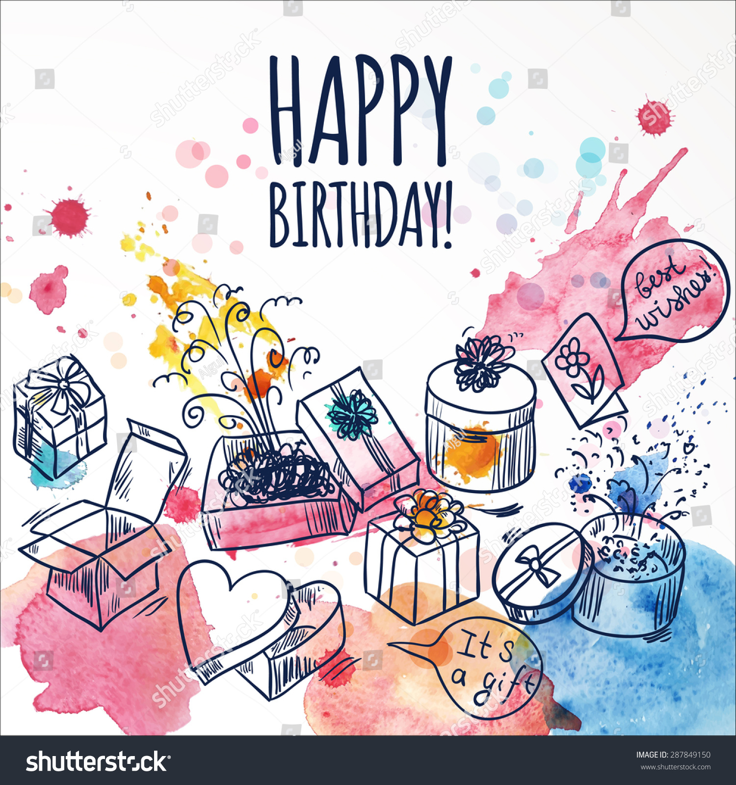 Happy Birthday Card Doodle Hand Drawn Vector 287849150 – Doodle Birthday Card