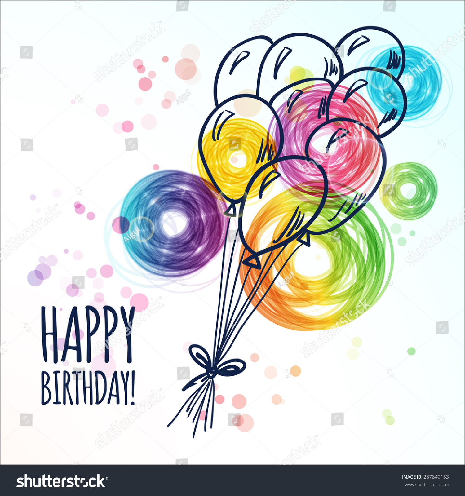 Happy Birthday Card Doodle Hand Drawn Vector 287849153 – Doodle Birthday Card