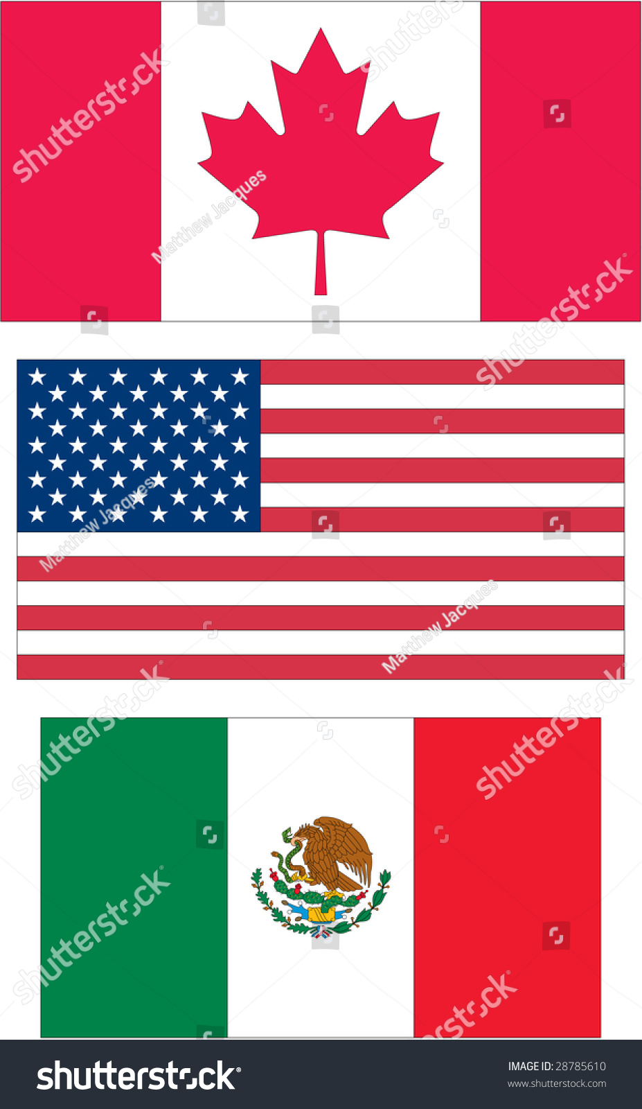 Canada United States America Usa Mexico Stock Illustration 28785610