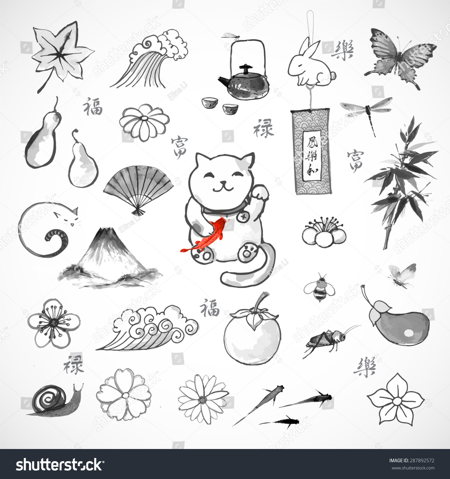 Traditional Japanese Symbols Luck Wellbeing Happiness Stock Vector