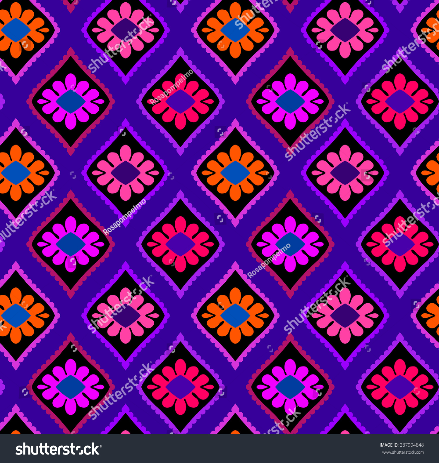 Vintage seamless vector mexican pattern colorful stock