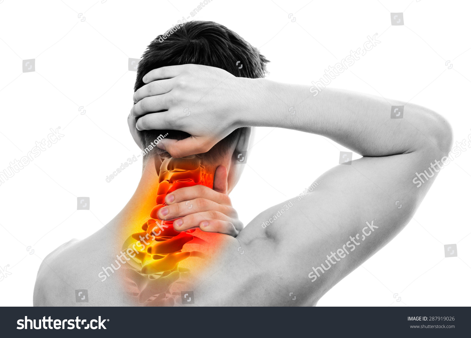Neck Pain Male Anatomy Sportsman Holding Stock Illustration ...