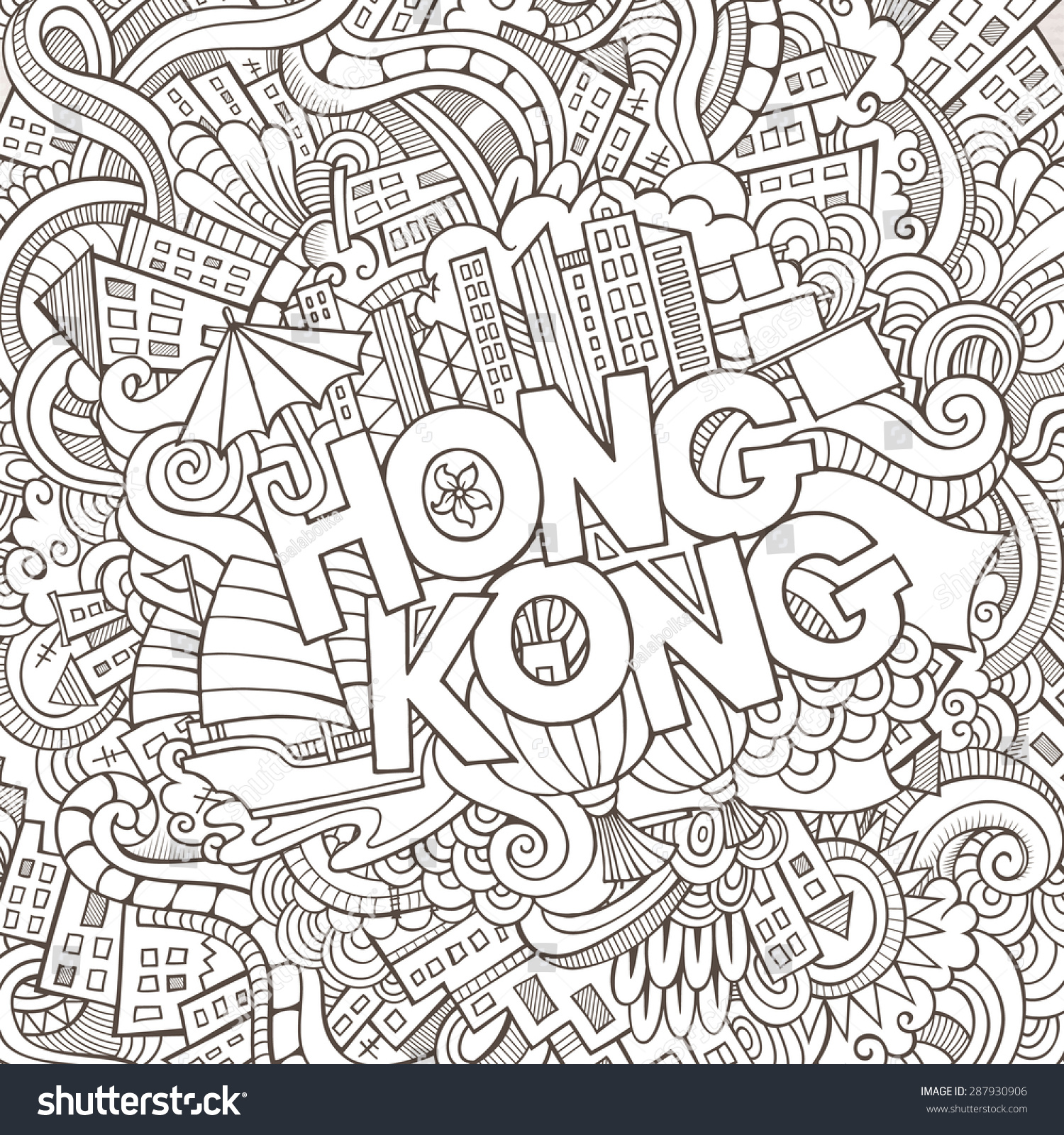 Stock vector music hand lettering and doodles elements - Hong Kong Hand Lettering And Doodles Elements Background Vector Illustration
