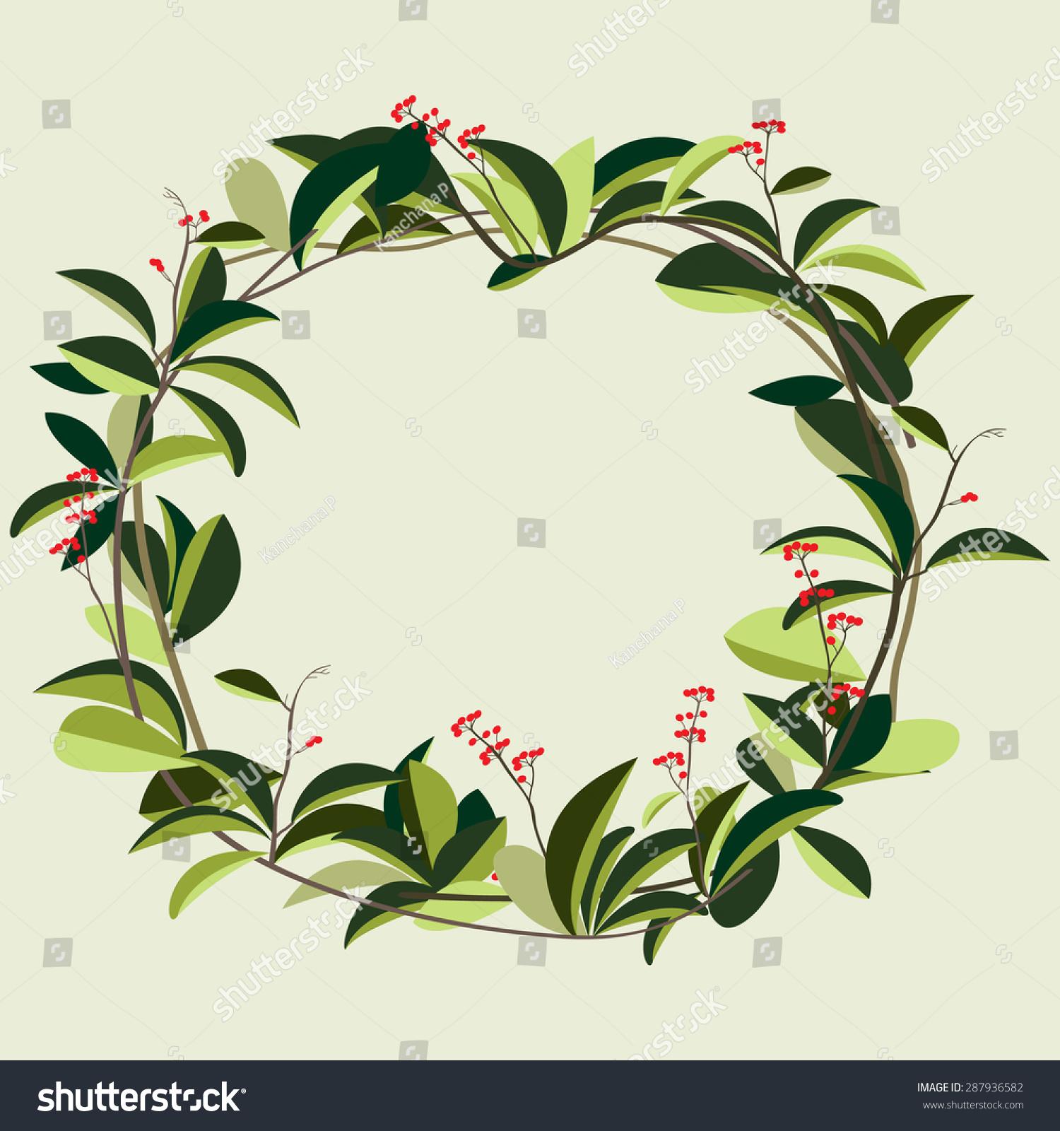 Wreath Of Creeper Flower Vine Plant Vector Illustration ...  Wreath Of Creep...