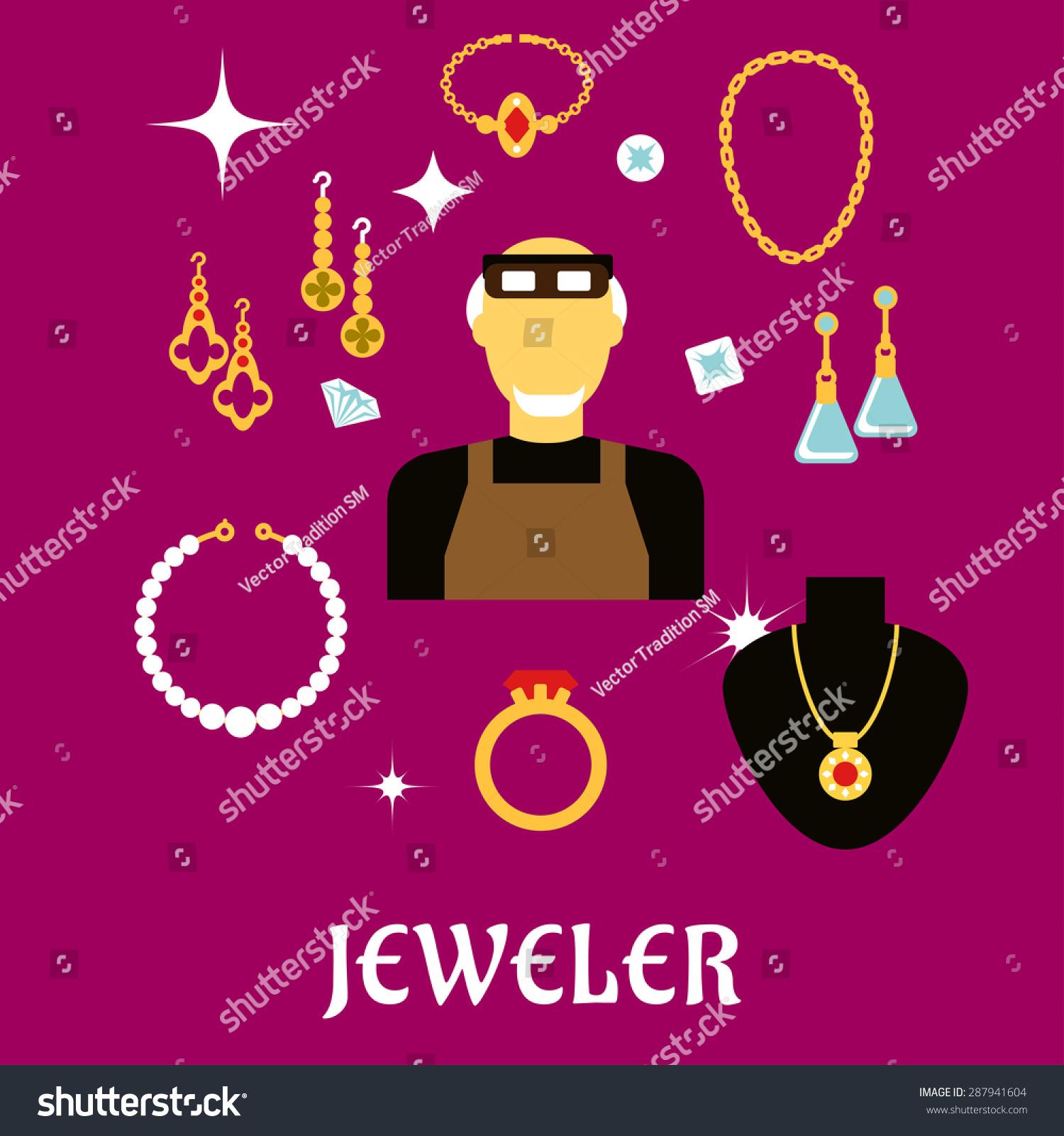 Jeweler Goldsmith Profession Concept Design Man Stock Vector (2018 ...
