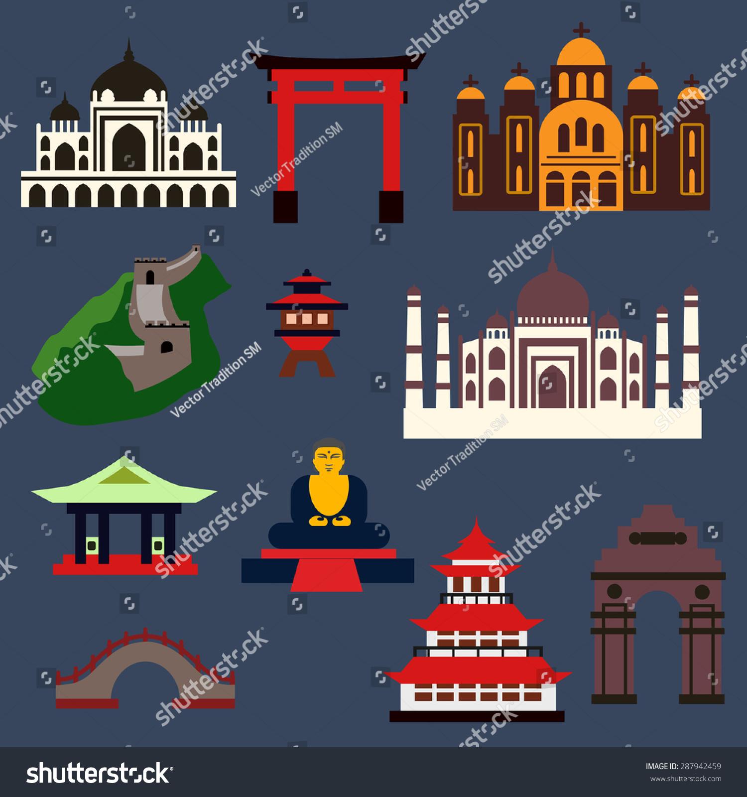Clip Art Famous Buildings in Japan