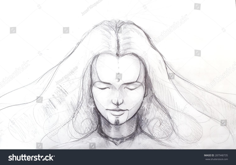 Line Drawing Face Tattoo : Pencil drawing beautiful meditation girl tattoo stock illustration