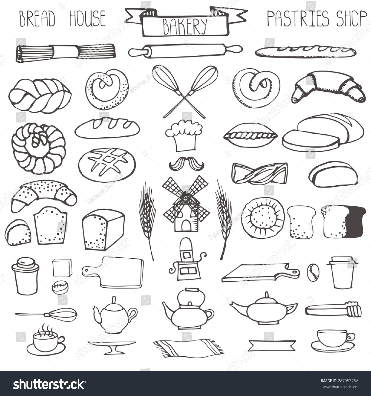 Bread Bakery Doodle Vector Pastries Icons Set Linear Stock Vector ...