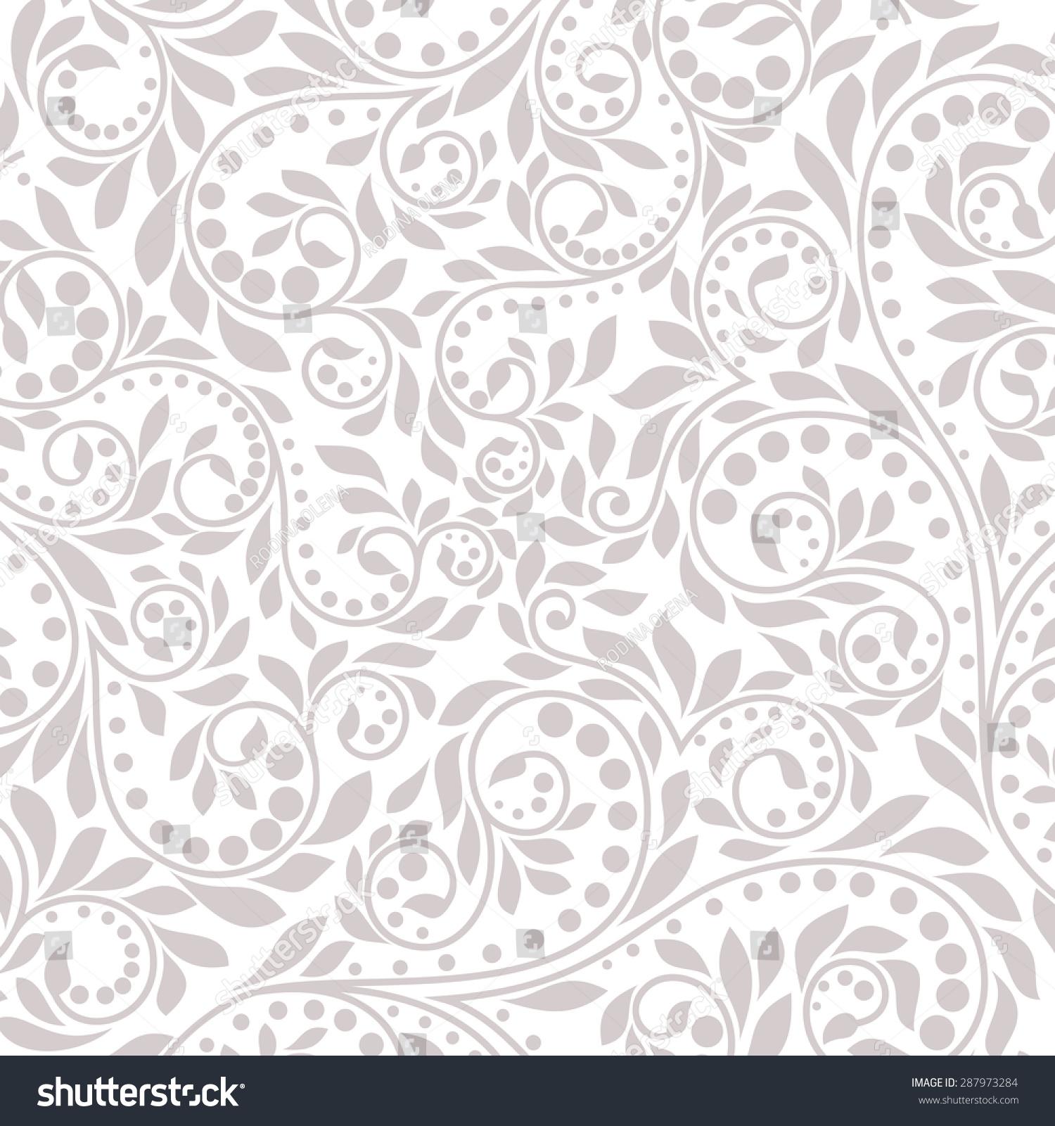 floral pattern wallpaper baroque damask gray stock