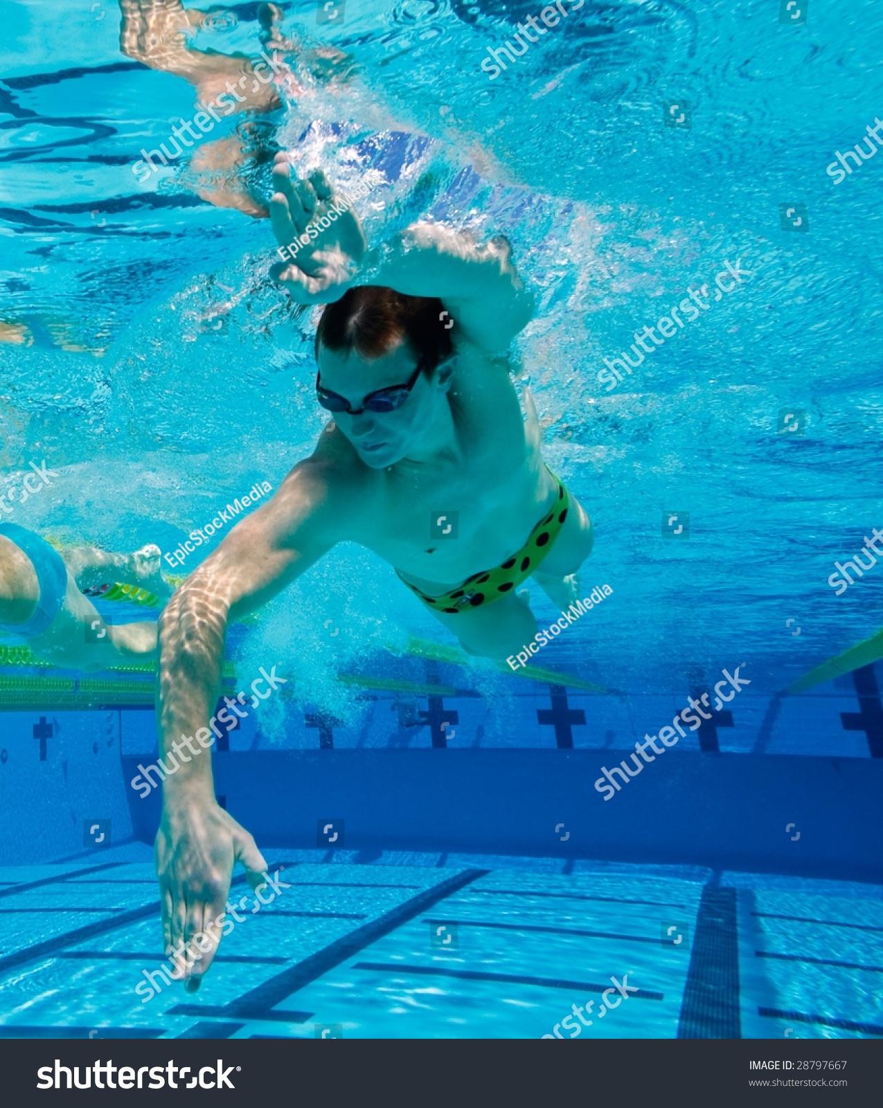 Swimmer Swimming Laps Pool Underwater View Stock Photo