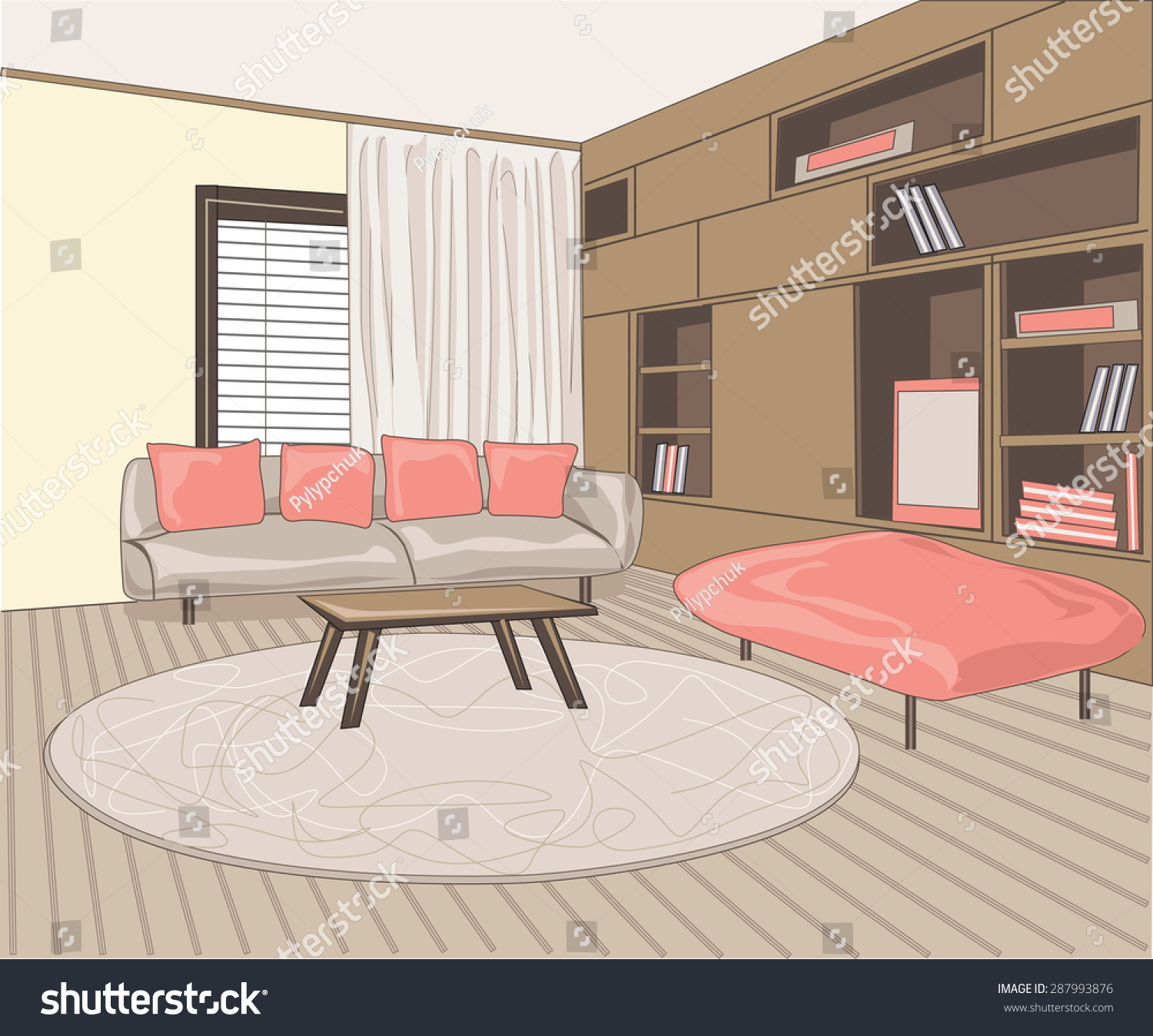 Room interior, with couch and bookshelving 1500 x 1348