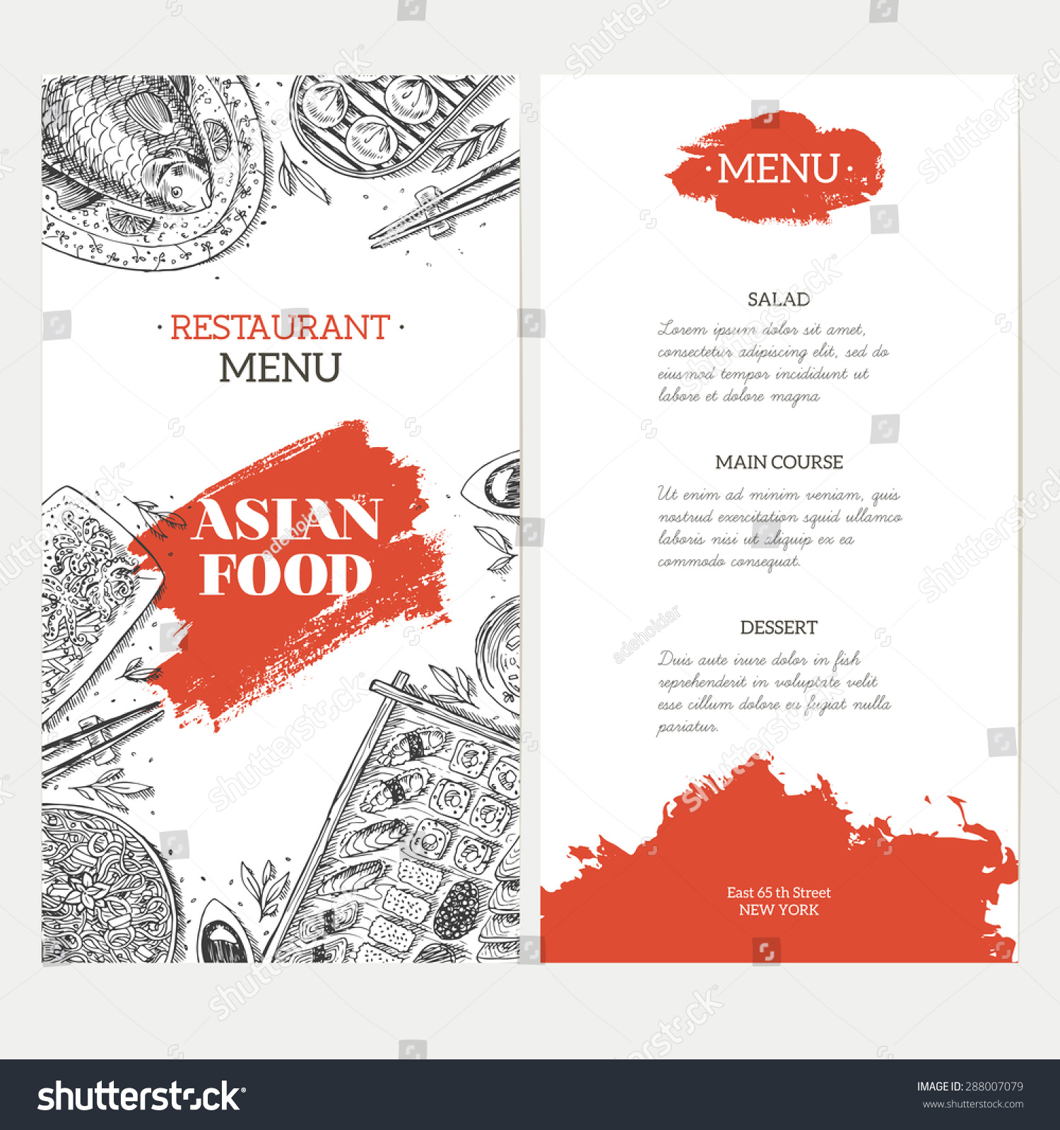 Asian food menu template linear graphic stock vector for Akina japanese cuisine menu