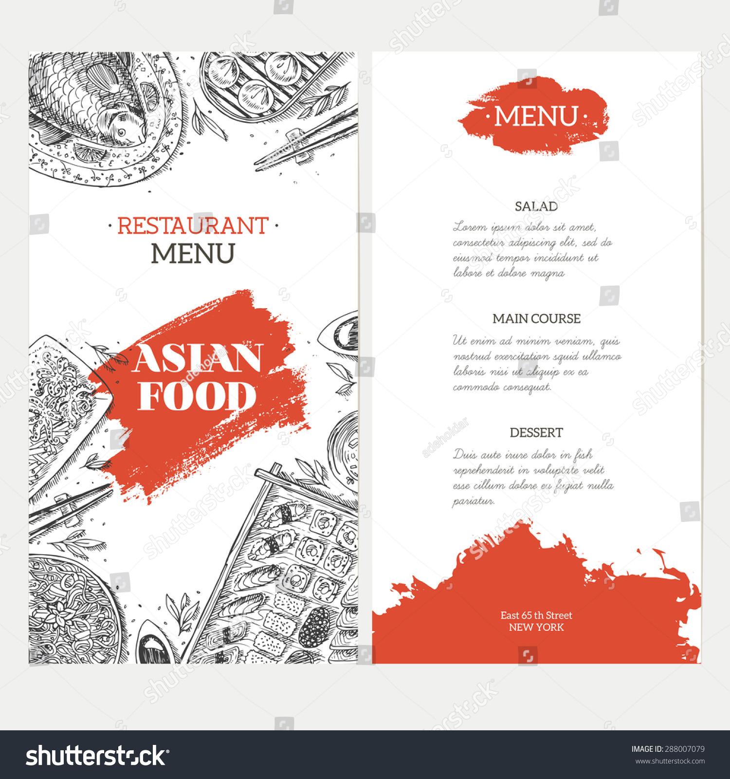 asian food menu template linear graphic vector. Black Bedroom Furniture Sets. Home Design Ideas