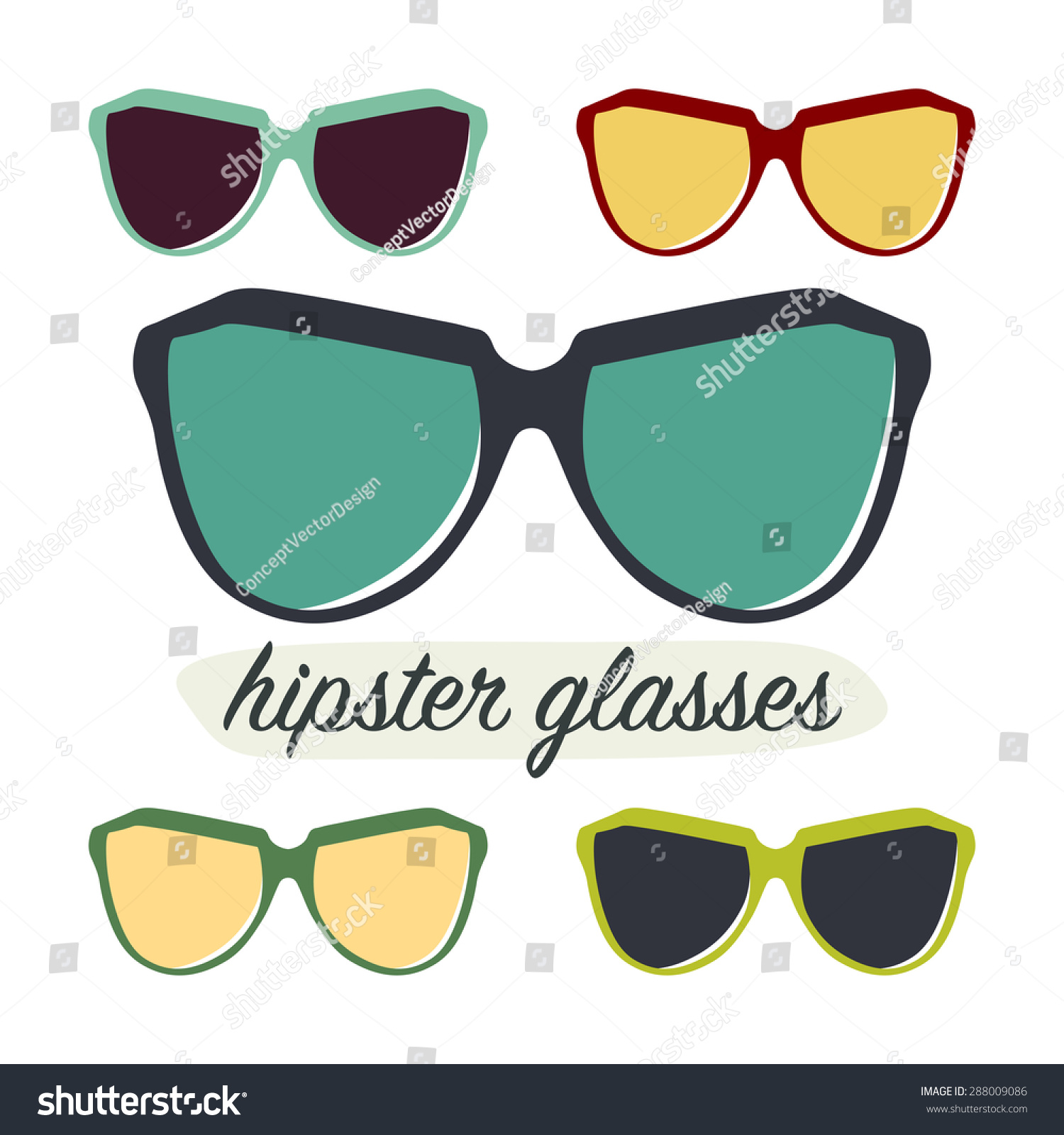 Hipster Glasses Design Template Stock Vector Royalty Free