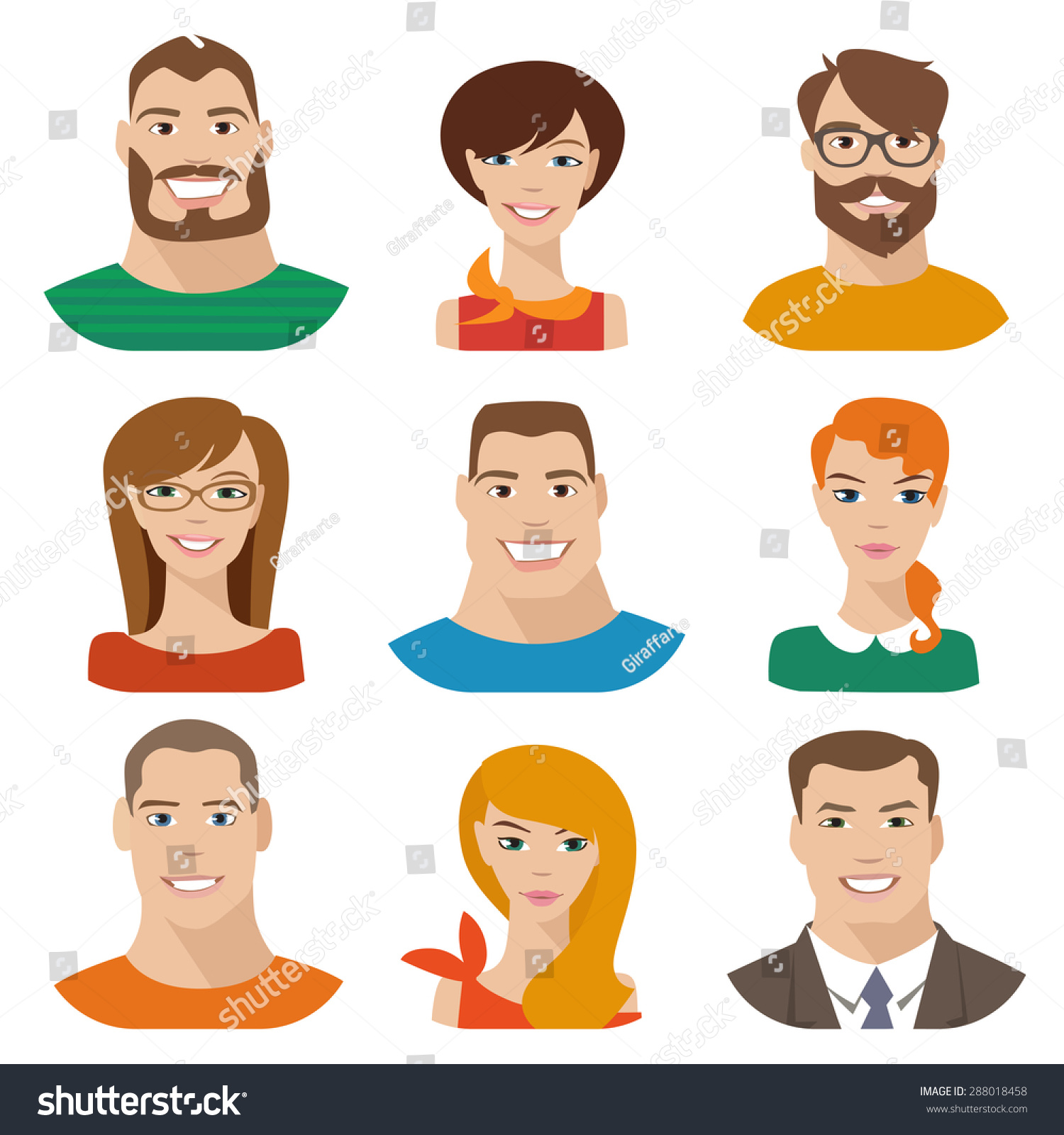 Flat Vector Characters Vector Avatars Eyes Stock Vector