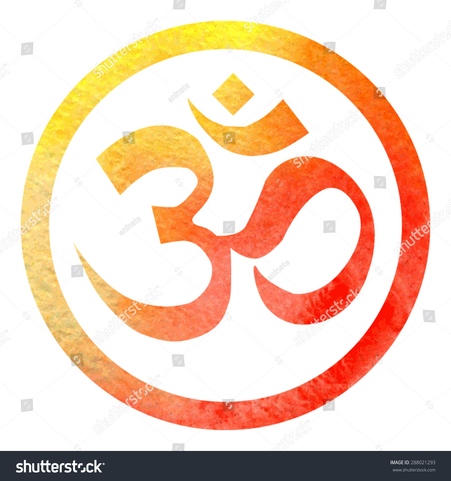 Vector illustration hinduism symbol om bright stock vector vector illustration of hinduism symbol om in bright orange watercolor circle frame with white background biocorpaavc