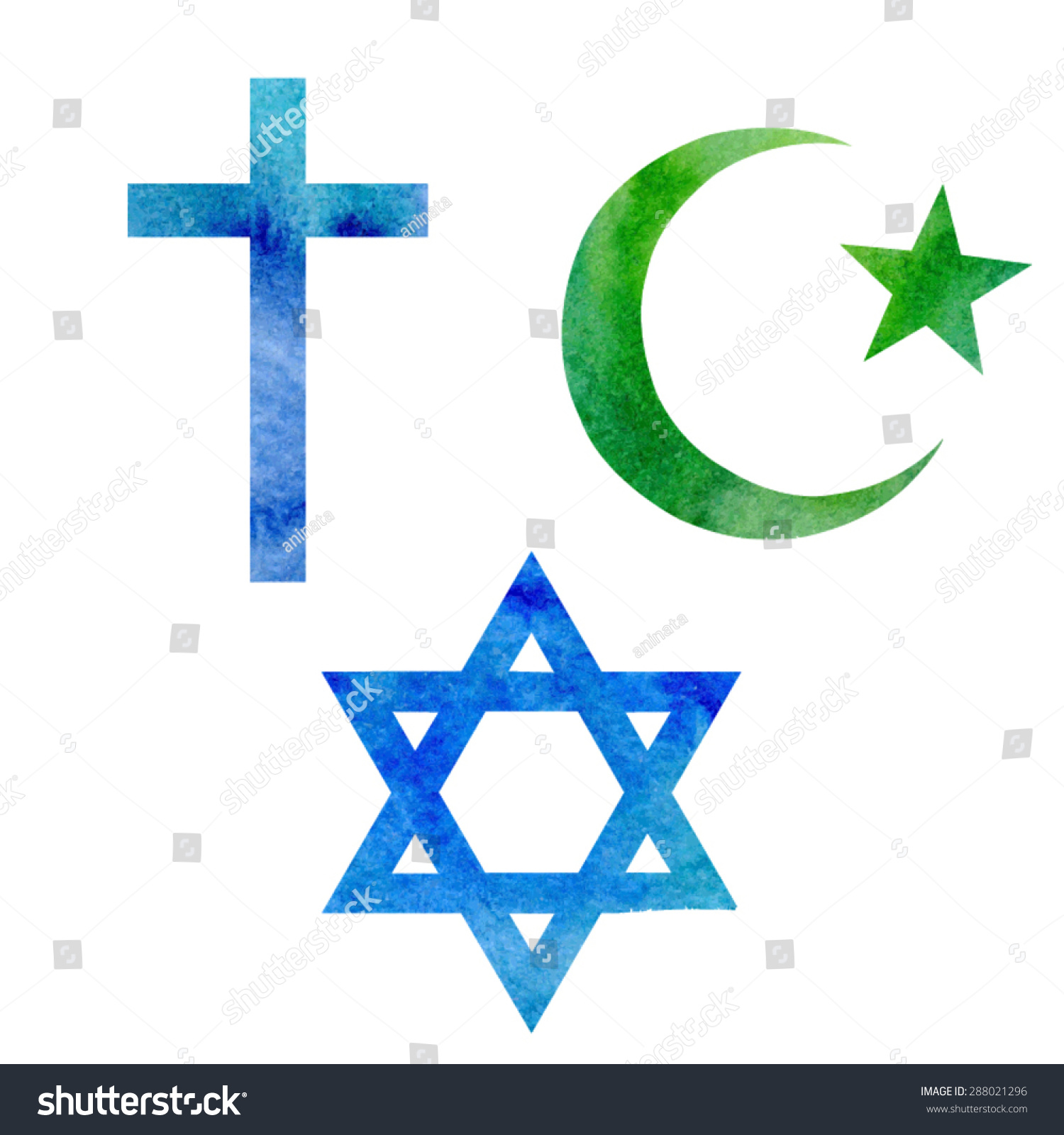 Set vector watercolor symbols three abrahamic stock vector set of vector watercolor symbols of three abrahamic or semitic religions christian islamic and biocorpaavc Image collections