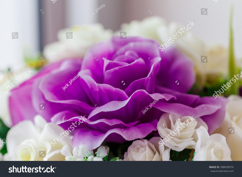 Artificial Purple Flower Little White Flowers Stock Photo (Royalty ...
