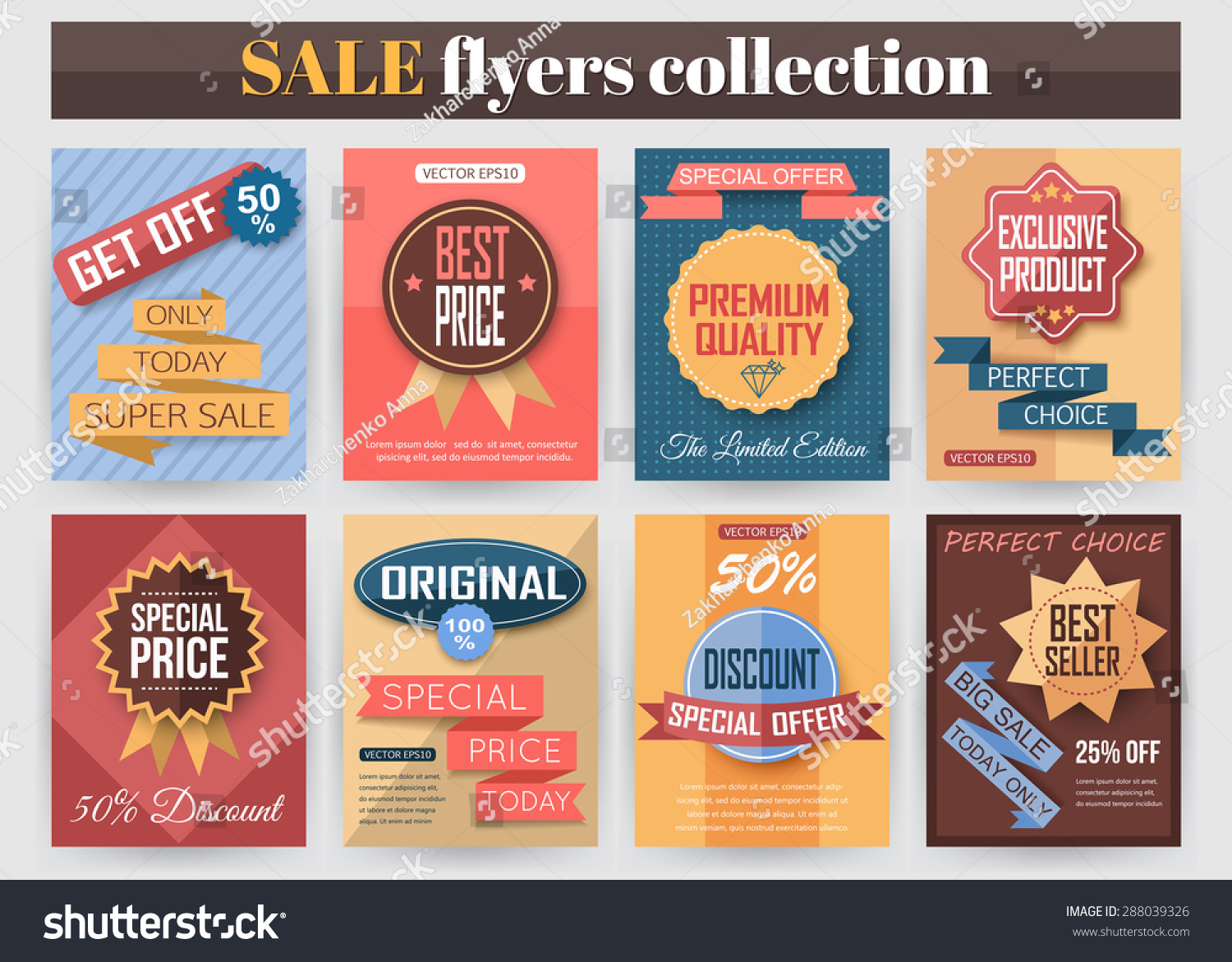 Set Colorful Sale Flyers Best Creative Stock Vector 288039326 ...