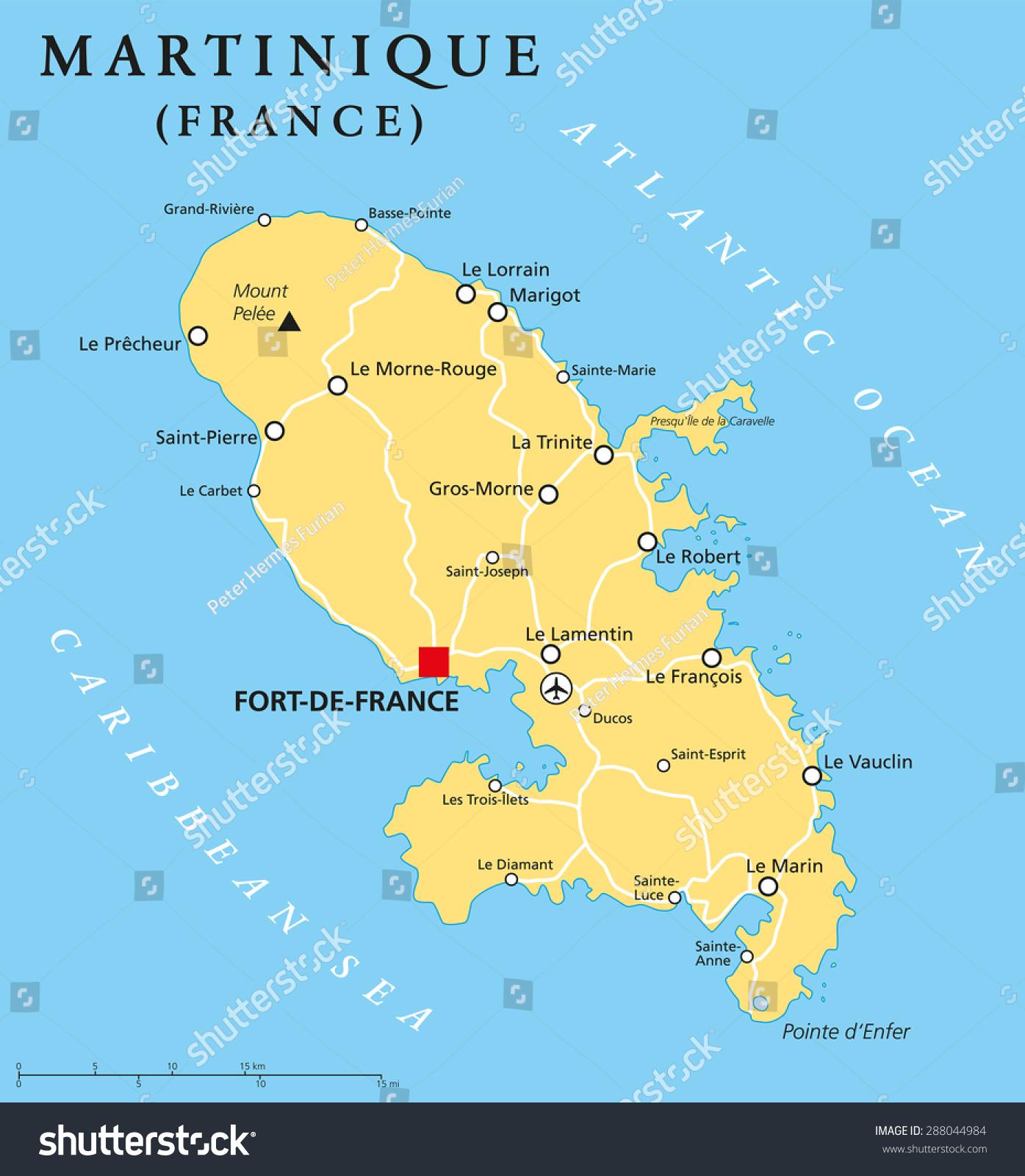Dominica Political Map Capital Roseau Important Stock Vector - Map of dominica caribbean sea