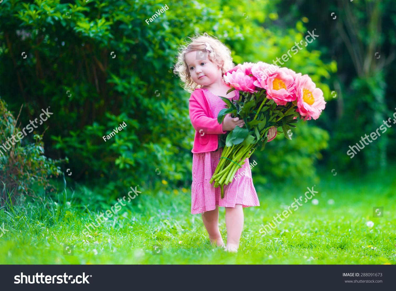 Little Cute Girl Peony Flowers Child Stock Photo Edit Now