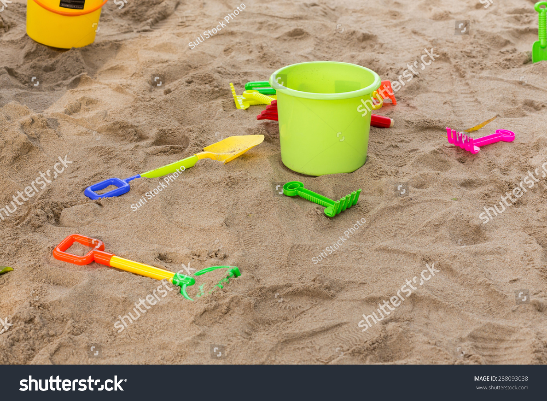 kids toys playing sand bucket shovel stock photo 288093038