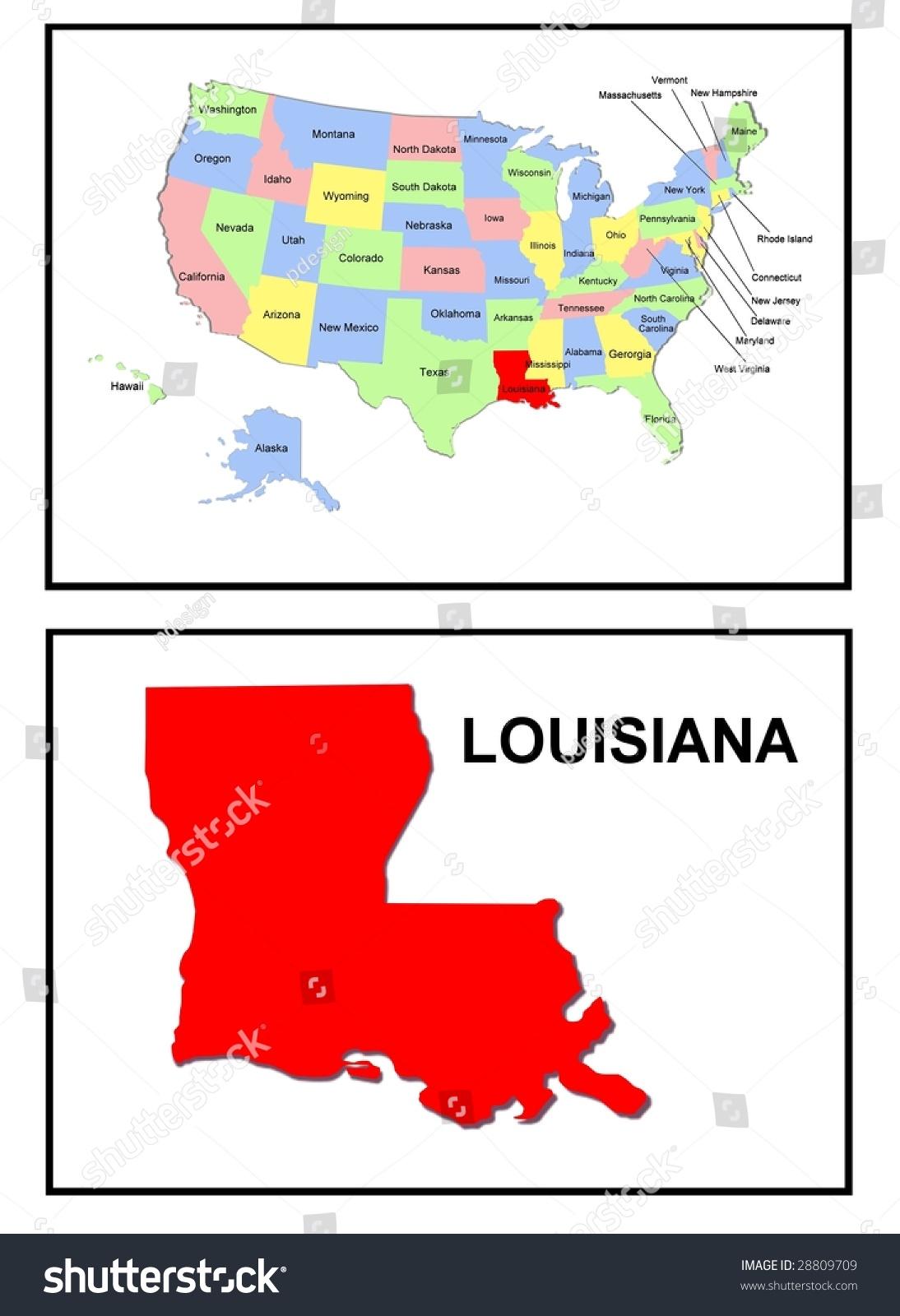 Full Color Map United States America Stock Illustration - Us map louisiana