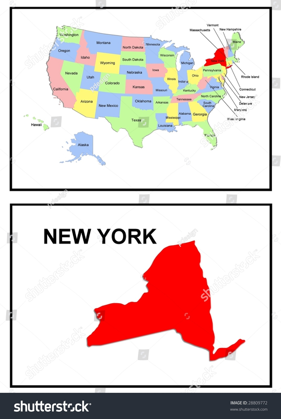 A Full Color Map Of The United States Of America With The New York