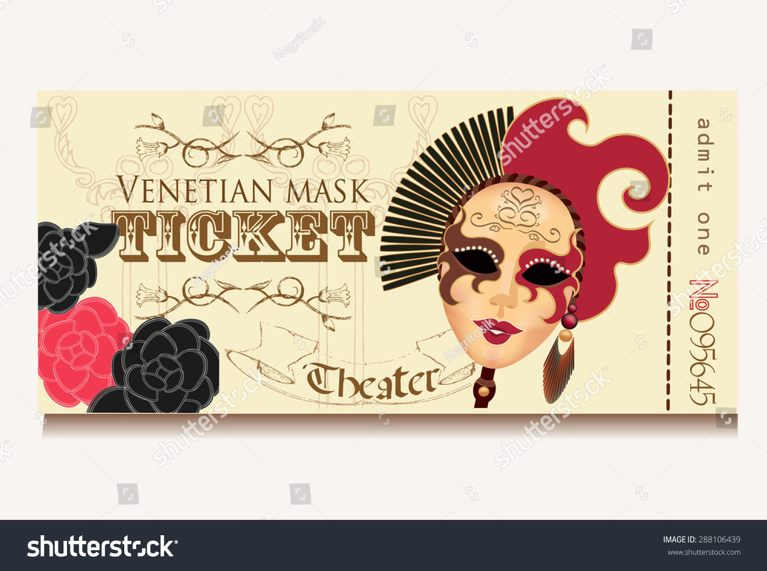 Template Theater Ticket Venice Mask Female Vector 288106439 – Theater Ticket Template