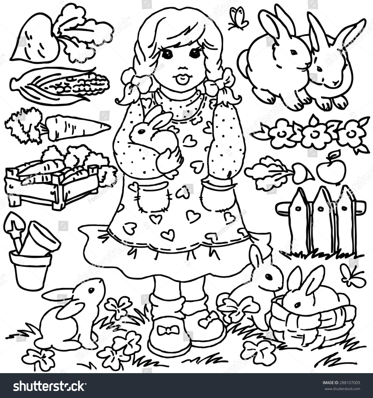 coloring book cartoon farm animals girl vegetables fruits garden tools and