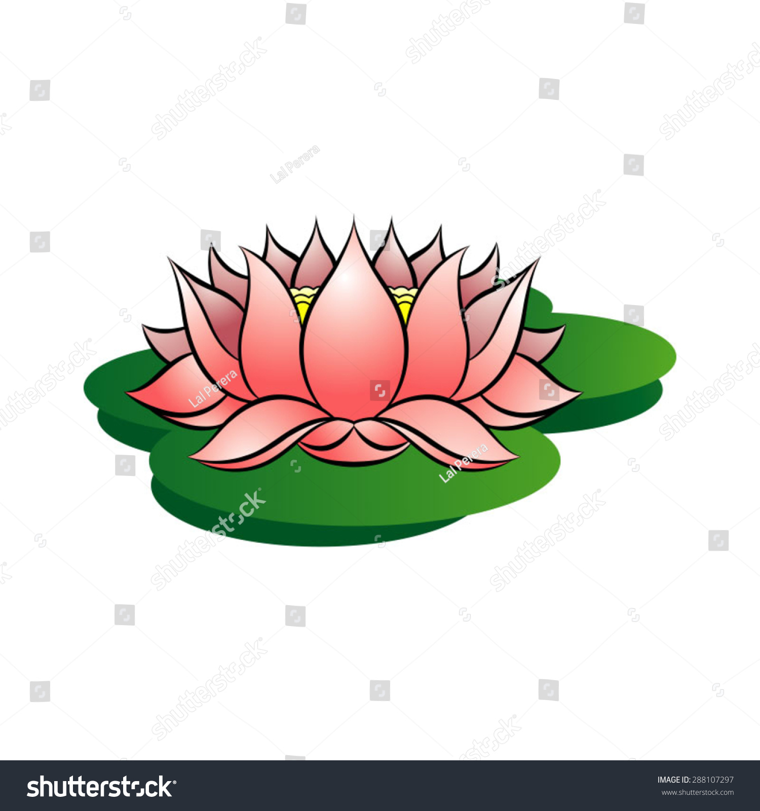Pink colored lotus flower on green stock vector 288107297 shutterstock pink colored lotus flower on green leaves mightylinksfo