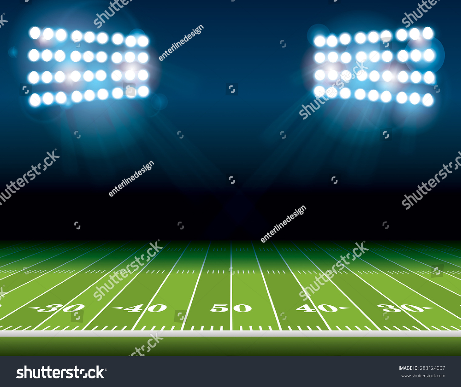 Football Stadium Night Lights: Illustration American Football Field Bright Stadium Stock