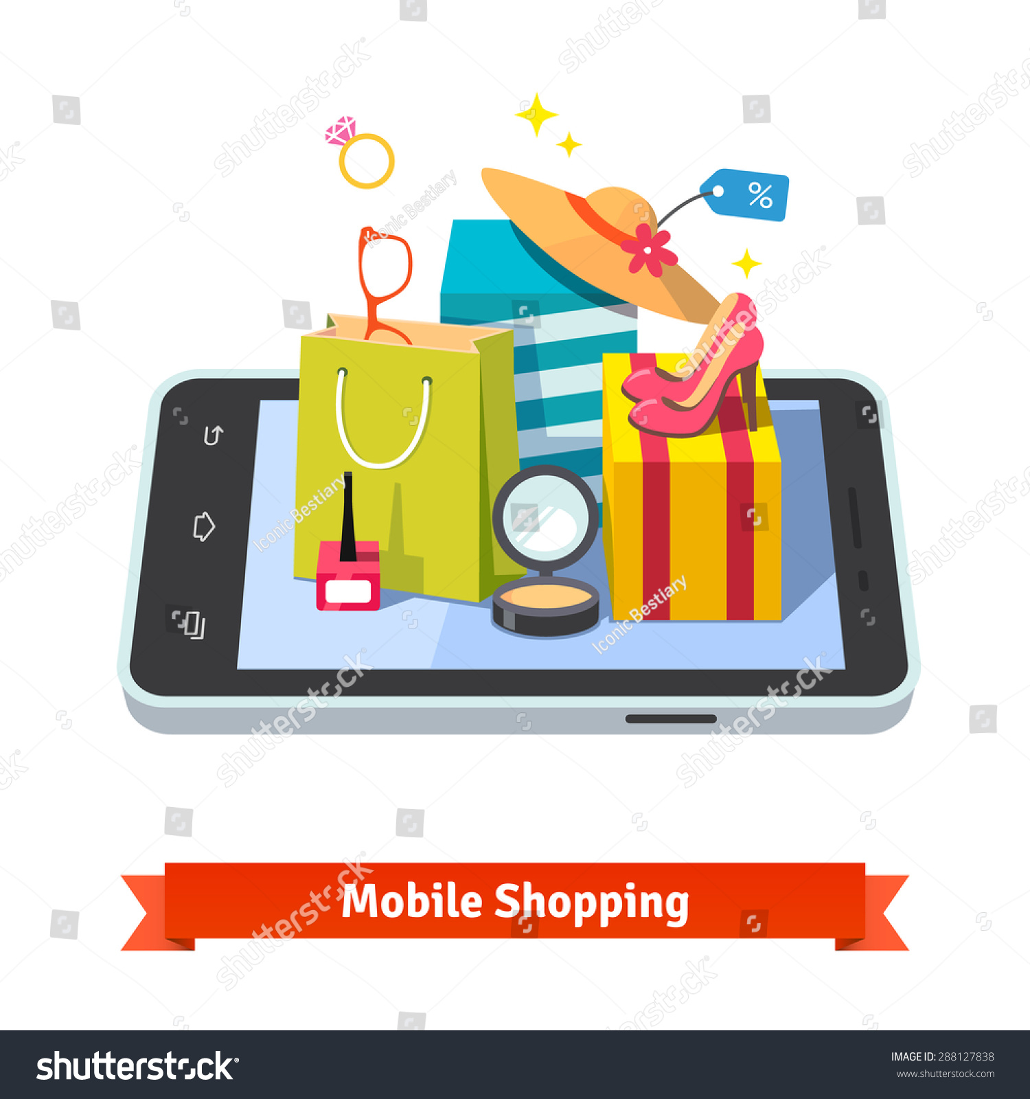 Woman Mobile Online Shopping For Accessories And Cosmetics ...