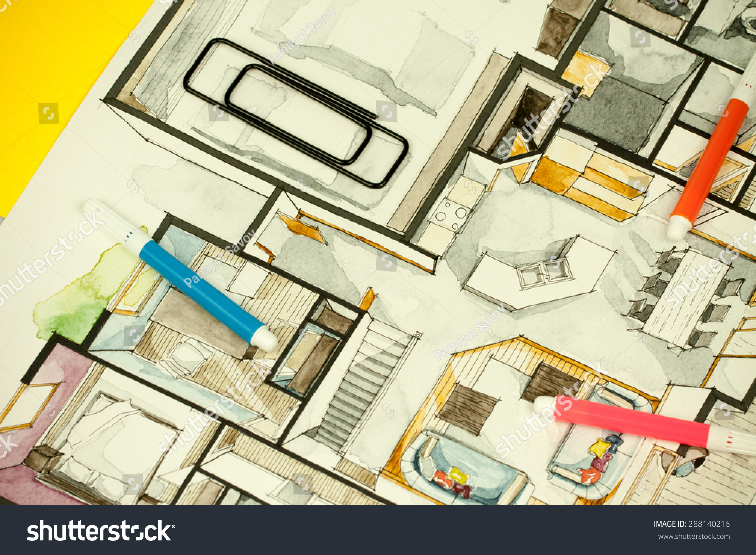 Image Of Architectural Design Floor Plan Sketch Drawing Illustration Interior Decoration Apartment Part Suitable
